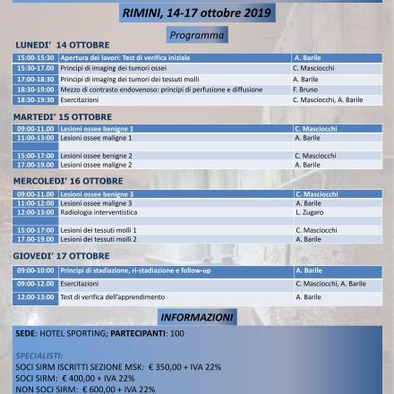 """Programmi Didattici Aquilani  – """"Diagnostica per Immagini delle lesioni dell'osso e delle parti molli"""" – Capitolo 1 – 14/17 Ottobre  Rimini"""