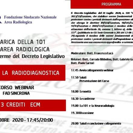 Webinar ( Fad Sincrona)   12   Ottobre   LA 101  E LA  RADIODIAGNOSTICA