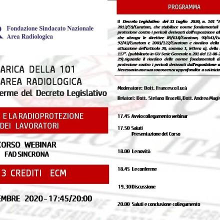 Webinar ( Fad Sincrona)  8  Ottobre   LA 101  E LA  MEDICINA NUCLEARE