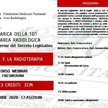 Webinar ( Fad Sincrona)  5 Ottobre   LA 101  E LA RADIOTERAPIA