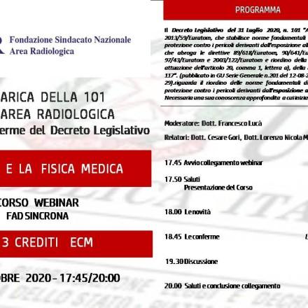 Webinar ( Fad Sincrona)  7  Ottobre   LA 101  E LA  FISICA  MEDICA